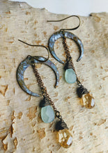 Load image into Gallery viewer, Crescent Moon Earrings with Chalcedony - Minxes' Trinkets