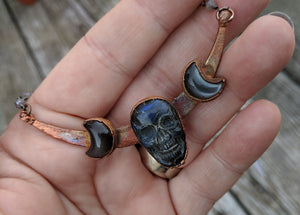 Electroformed Labradorite Skull and Moons - Blue