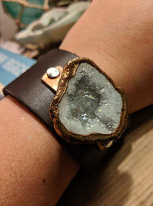 Leather Cuff with Electroformed White Druzy - Minxes' Trinkets