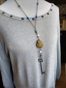 Skeleton Key and Druzy Necklace - Minxes' Trinkets