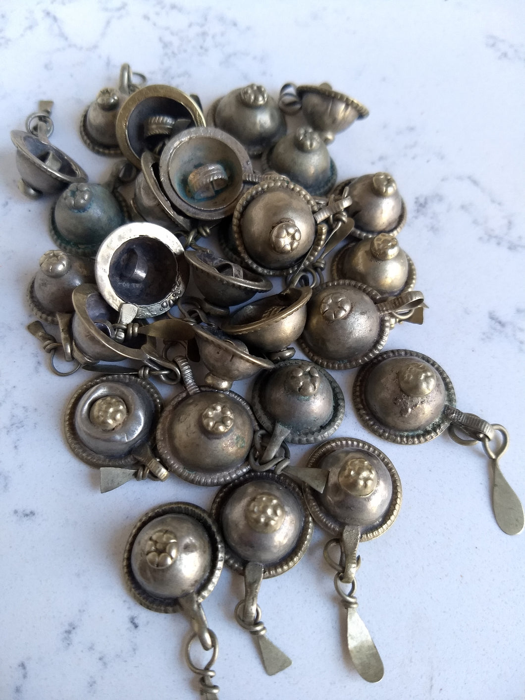 Kuchi Buttons - domed nipple with dangles (27) - Minxes' Trinkets