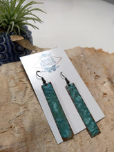 Load image into Gallery viewer, Hammered Verdigris Copper Bar Earrings - Minxes' Trinkets