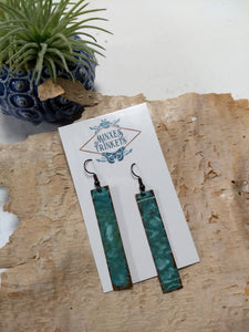 Hammered Verdigris Copper Bar Earrings - Minxes' Trinkets