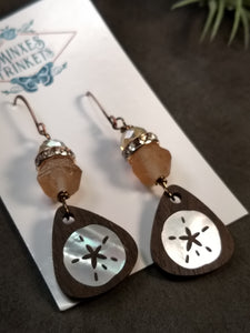 Handcrafted Mother-of-Pearl Inlay Earrings - Sand Dollar - Minxes' Trinkets