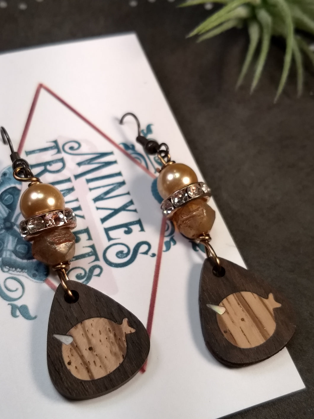 Handcrafted Inlay Earrings - Narwhal - Minxes' Trinkets