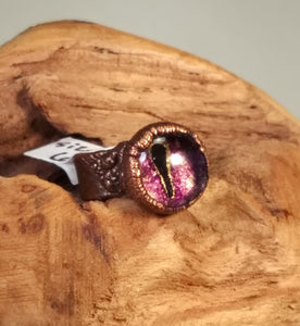 Electroformed Purple Glass Eyeball Ring - Size 6 - Minxes' Trinkets