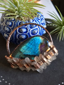 Copper Electroformed Labradorite and Quartz Protection Necklace II - Minxes' Trinkets