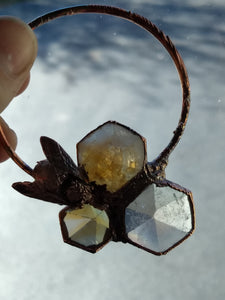 Real Honeybee and Citrine Copper Electroformed Necklace - Minxes' Trinkets
