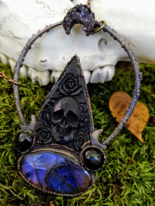 Electroformed Bone Planchette Necklace with Labradorite - Minxes' Trinkets
