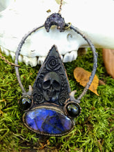 Load image into Gallery viewer, Electroformed Bone Planchette Necklace with Labradorite - Minxes' Trinkets