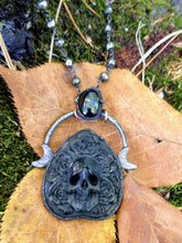 Load image into Gallery viewer, Electroformed Skull and Roses Bone Planchette Necklace with Black Diopside II - Minxes' Trinkets