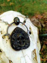 Load image into Gallery viewer, Electroformed Skull and Roses Bone Planchette Necklace with Black Diopside I - Minxes' Trinkets