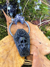 Load image into Gallery viewer, Electroformed Carved Coffin Necklace with Skull and Roses