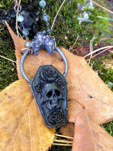 Electroformed Carved Coffin Necklace with Skull and Roses - Minxes' Trinkets