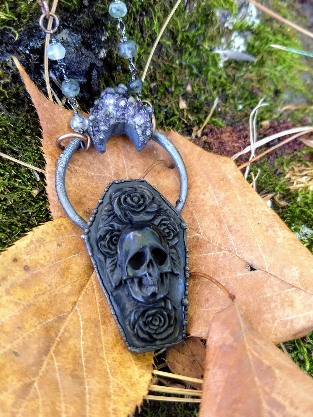 Electroformed Carved Coffin Necklace with Skull and Roses