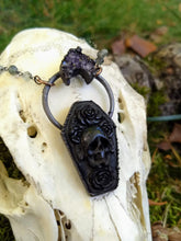 Load image into Gallery viewer, Electroformed Carved Coffin Necklace with Skull and Roses - Minxes' Trinkets