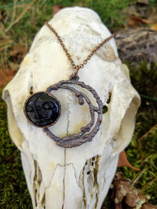 Copper Electroformed Carved Bone Moon Necklace - Minxes' Trinkets