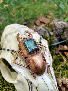 Electroformed Giant Beetle with Labradorite