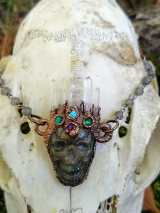 Electroformed Quartz-Crowned Labradorite Skull Necklace - Atropos
