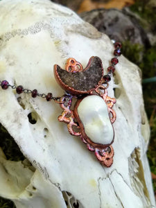 Electroformed Druzy Moon and Doll Face Necklace - Minxes' Trinkets