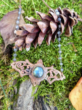 Load image into Gallery viewer, Electroformed Labradorite Bat Necklace - Minxes' Trinkets