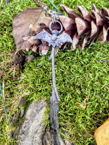 Copper Electroformed Witch Broom Besom with Bat
