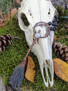 Copper Electroformed Witch Broom Besom with Moonstone - Minxes' Trinkets