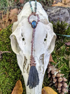 Copper Electroformed Witch Broom Besom with Labradorite
