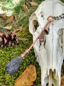 Copper Electroformed Besom - Medium with Hat and Cauldron - Minxes' Trinkets