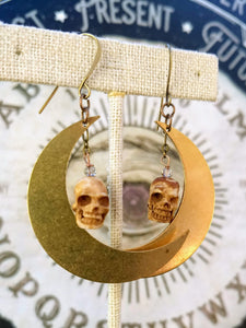 Carved Skull and Big Moon Earrings