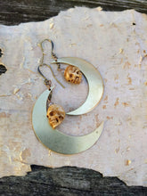 Load image into Gallery viewer, Carved Skull and Big Moon Earrings