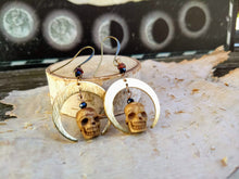 Load image into Gallery viewer, Carved Skull and Crescent Moon Earrings