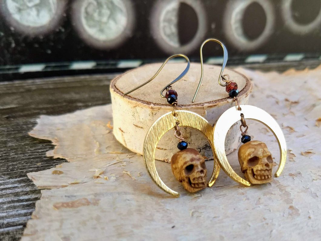 Carved Skull and Crescent Moon Earrings