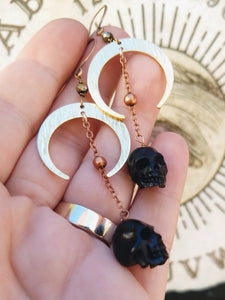 Carved Black Skull and Crescent Moon Earrings II