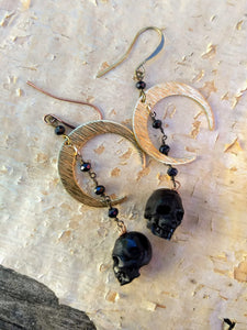 Carved Black Skull and Crescent Moon Earrings - Minxes' Trinkets