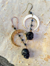 Load image into Gallery viewer, Carved Black Skull and Crescent Moon Earrings - Minxes' Trinkets