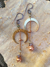 Load image into Gallery viewer, Crescent Moon Grape Agate Copper Electroformed Cauldron Earrings