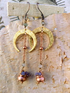 Crescent Moon Grape Agate Copper Electroformed Cauldron Earrings