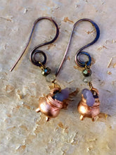 Load image into Gallery viewer, Grape Agate Copper Electroformed Cauldron Earrings - Short