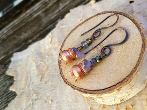 Grape Agate Copper Electroformed Cauldron Earrings - Short