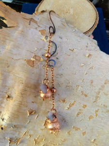 Grape Agate Copper Electroformed Cauldron Earrings - Long - Minxes' Trinkets