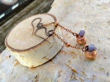 Load image into Gallery viewer, Grape Agate Copper Electroformed Cauldron Earrings - Long - Minxes' Trinkets