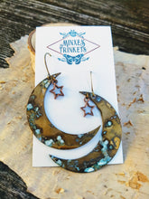 Load image into Gallery viewer, Verdigris Moon and Star Earrings - Minxes' Trinkets