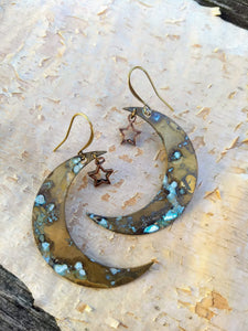 Verdigris Moon and Star Earrings - Minxes' Trinkets