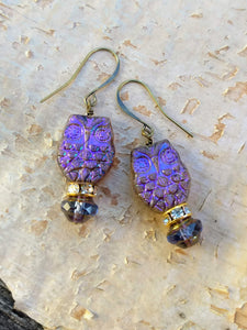Purple Owl Augury Earrings - Minxes' Trinkets