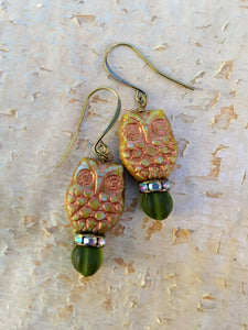 Green and Copper Owl Augury Earrings