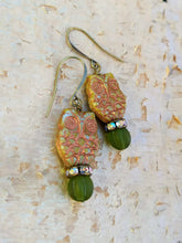 Load image into Gallery viewer, Green and Copper Owl Augury Earrings