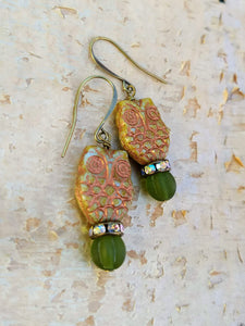 Green and Copper Owl Augury Earrings - Minxes' Trinkets
