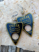 Load image into Gallery viewer, Ouija Planchette Earrings - green and gold - Minxes' Trinkets
