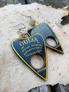 Ouija Planchette Earrings - green and gold